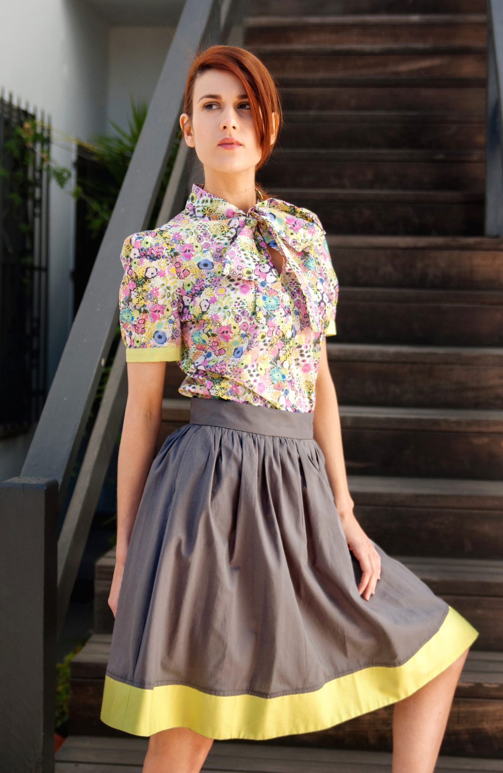 Bow-Tied Button Front Blouse in Liberty Art-Print and Dirndl Skirt with Colorblock-Hem