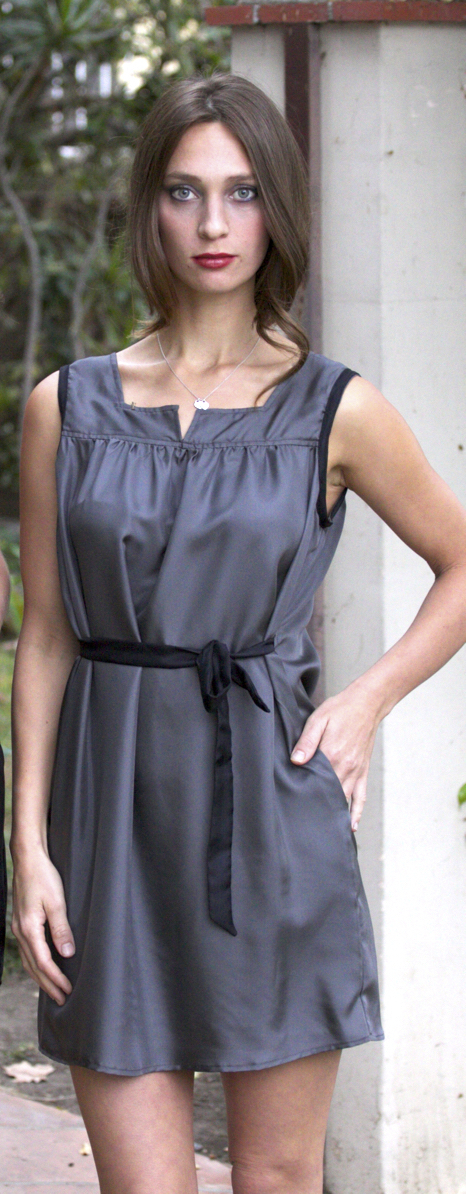 Gray Silk Mini Dress w/Pockets