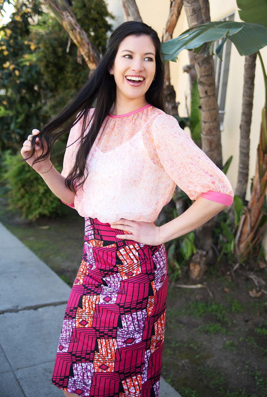 Handpainted chiffon blouse & African print pencil skirt.