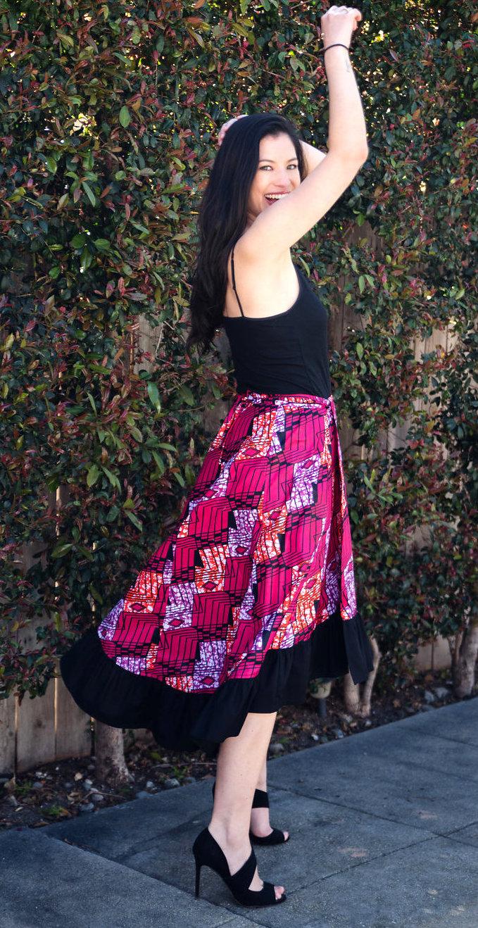 African print ruffled dance skirt