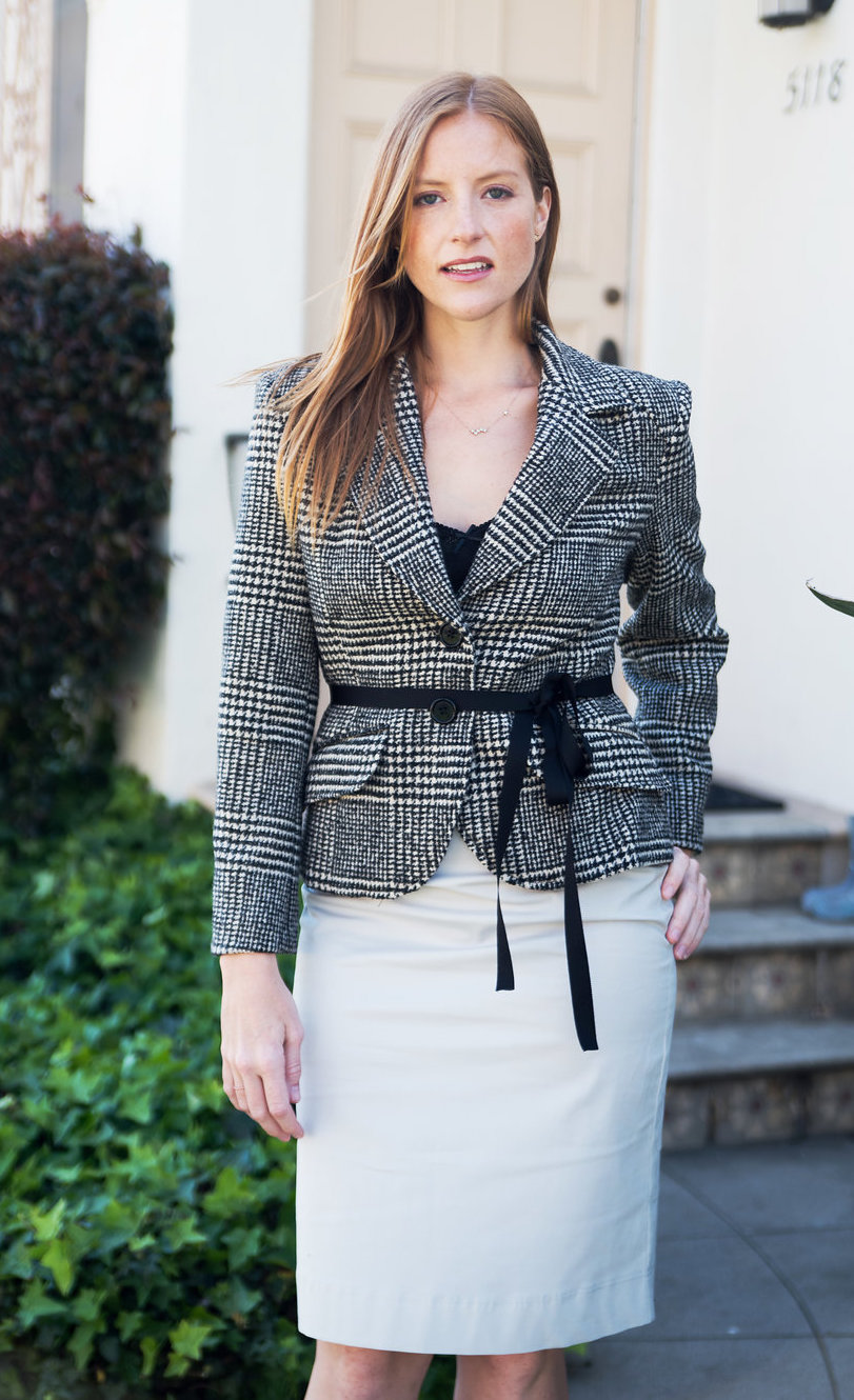 Tailored Plaid Blazer & Gray Pencil Skirt