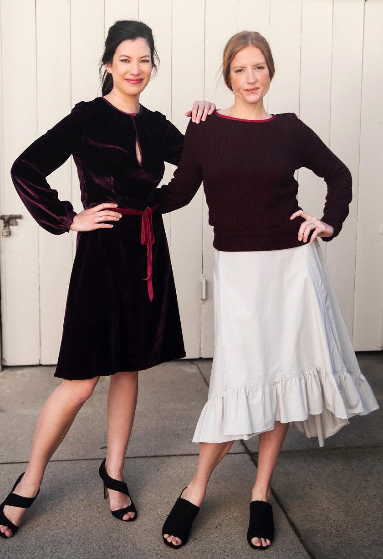 Velvet keyhole dress, Boatneck sweater, Gray ruffled skirt