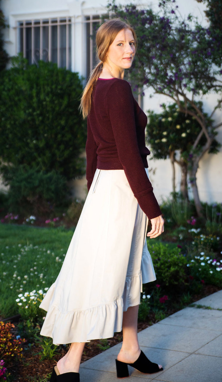 Gray ruffled wrap skirt & Burgundy boatneck sweater