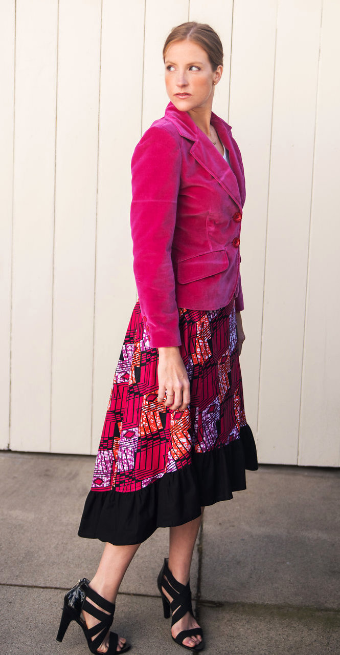 Hot Pink Velvet Blazer & Wrap Skirt in African Print