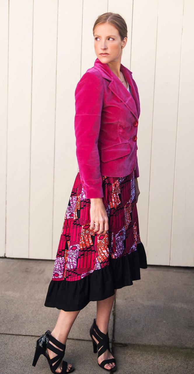 Hot pink velveteen blazer & African print ruffle skirt