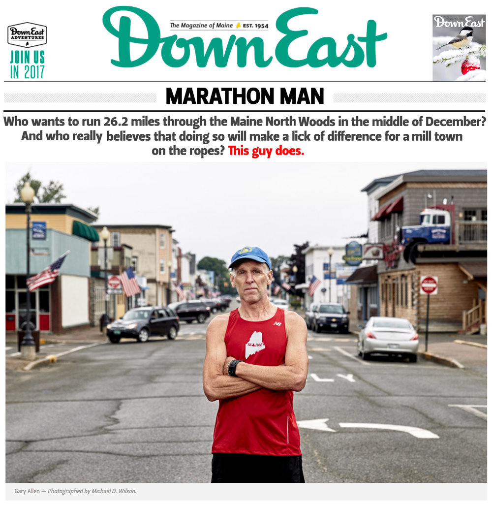 Click    HERE    to read 'Marathon Man' by Kathryn Miles for Down East Magazine