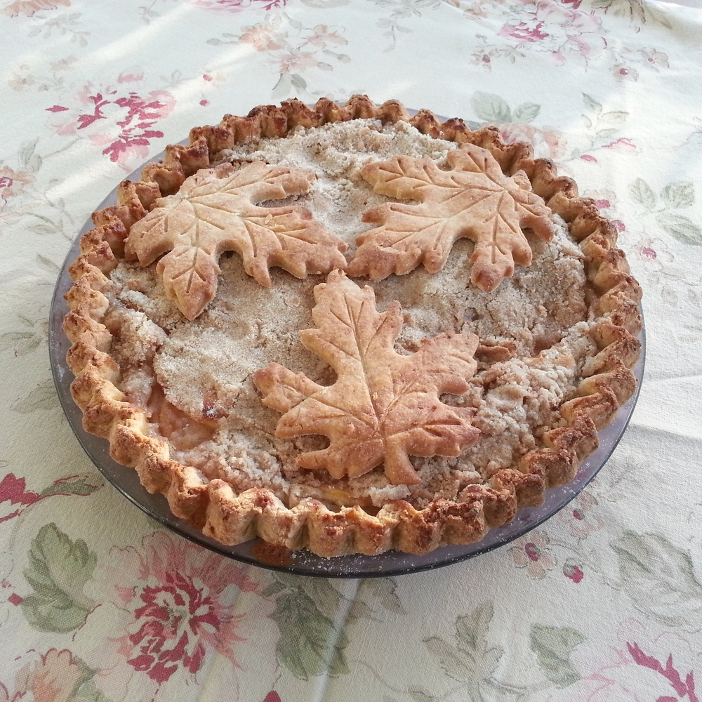 Sour cream Dutch apple pie with maple cut-outs
