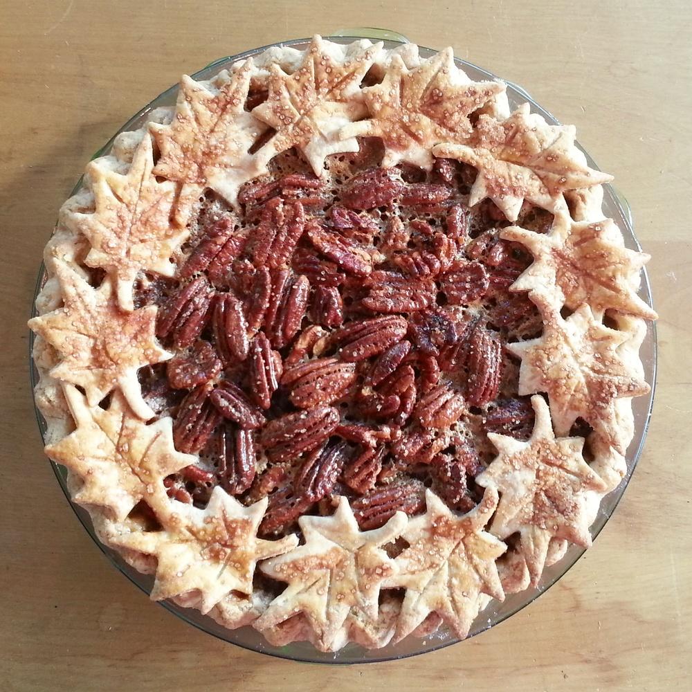 Bourbon-maple pecan pie with almond-coconut crust