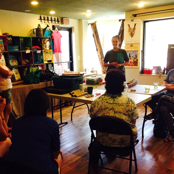 Sarah teaching a seed starting class at PGP