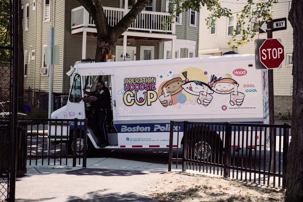 """Operation Hoodsie Cut. A Boston Police Department initiative where they drive abound the city in and ice cream truck handing out free Hoodsies to the kids. During an interview with the police officer driving, he said that while we see communities around the country clashing with the police """"we don't have that here."""""""