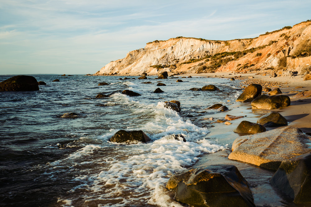 The Gay Head Cliffs of Aquinnah around sunset.