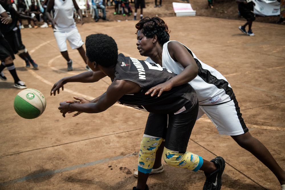 Two women fight for the ball during one of the women's games.
