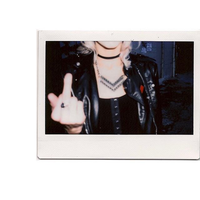 The Monday feels 🖕🏻but then you realize your outfit is on point .  @aquaberry.bluedream wearing the demoiselle bodysuit  #blackwednesday #blackonblack #black #southphilly #philly #shoplocal #shopsmall #fuck #leatherjacket #badassbitch #instax #polaroid