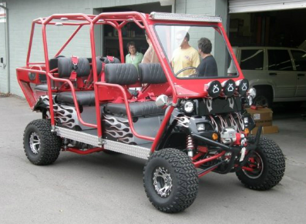 Golf cart with a couple modifications