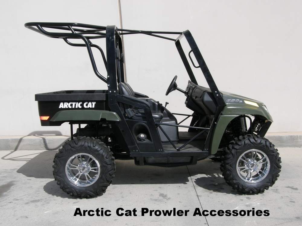 Arctic Cat Prowler Cages, seats, and canvas tops.