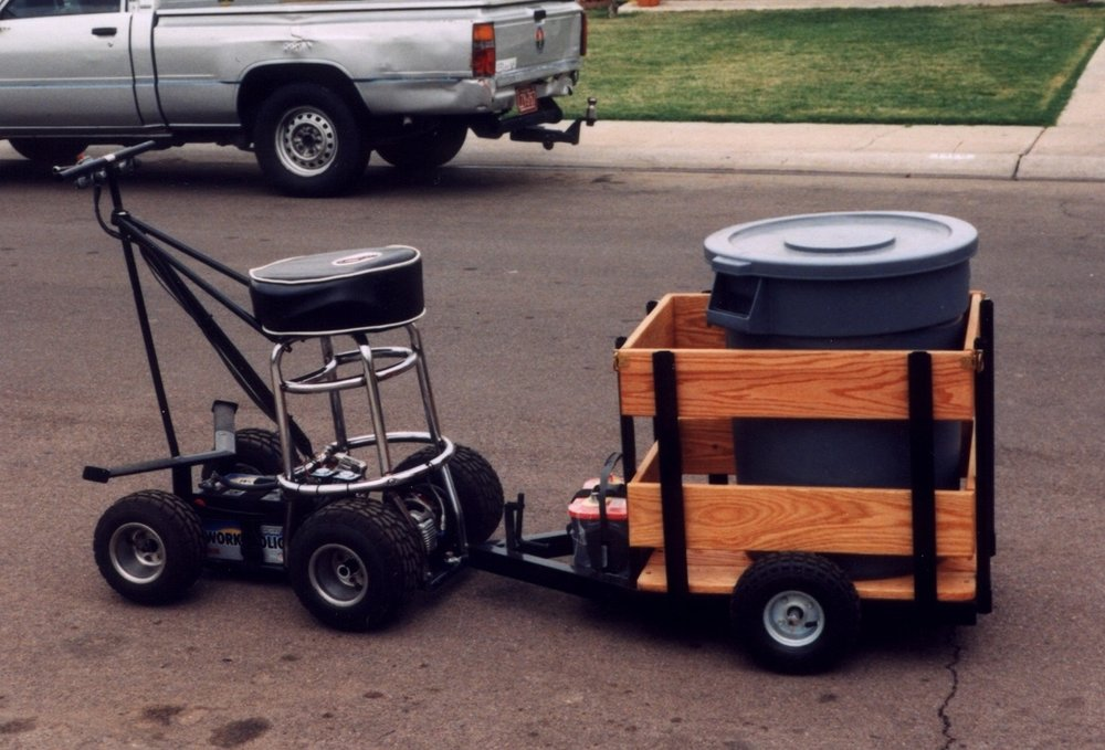 Electric Barstool with Keg Trailer
