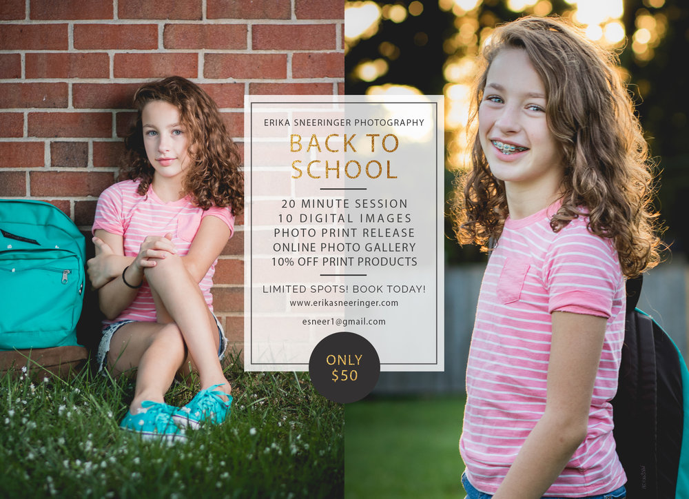 Book your photo session for back to school portraits in Baltimore, Maryland.
