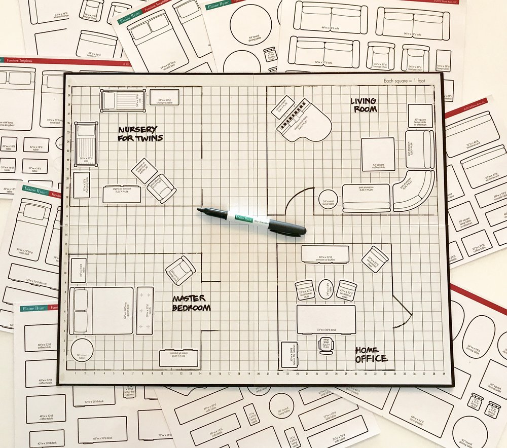 ELAINE RYAN® FURNITURE GRID BOARD, FURNITURE TEMPLATES & PEN SET $49.95