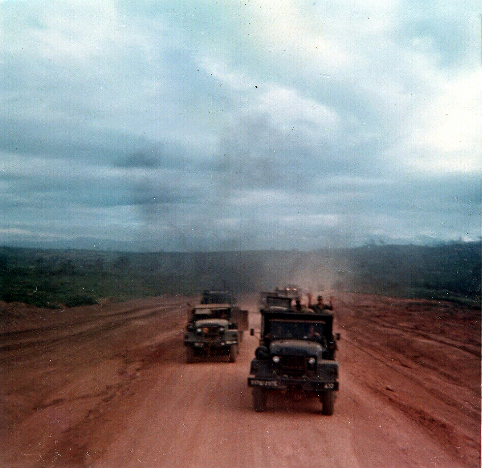 Highway 14 convoy, south of Dak To firebase, 1969.
