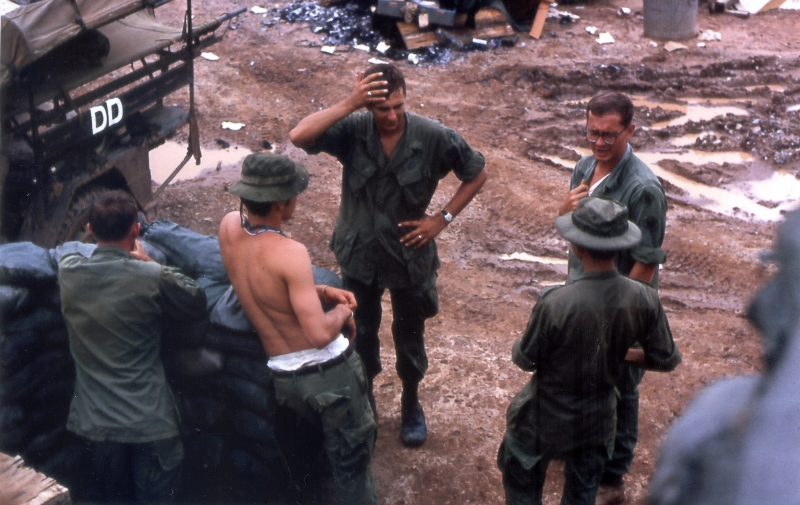 Christopher Upham and medics in Dak To, Vietnam, 1969