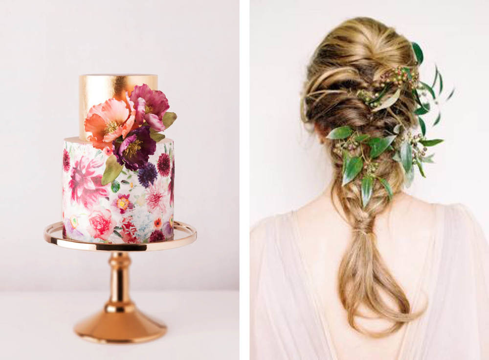 Left: Cake by  Cake Ink   Right: Photo :  Megan Robinson Photography  Florals:  Tinge