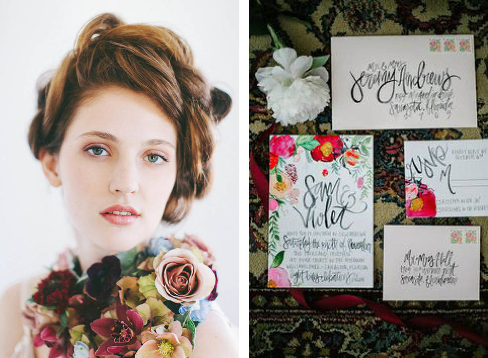 Left: Photography: Alixann Loosle Photography / Flowers: La Fete Found Via  100LayerCake   Right: Stationery by  Shannon Kirsten