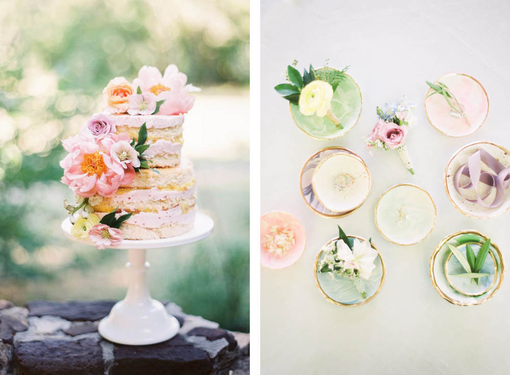Images Source  Ruffled Blog  Cake by  Jar Cakery  Photo by    Jessica Gold Photography  Event Designer:  Jen Rios Weddings   Dishes:  Peyton Anne Frank