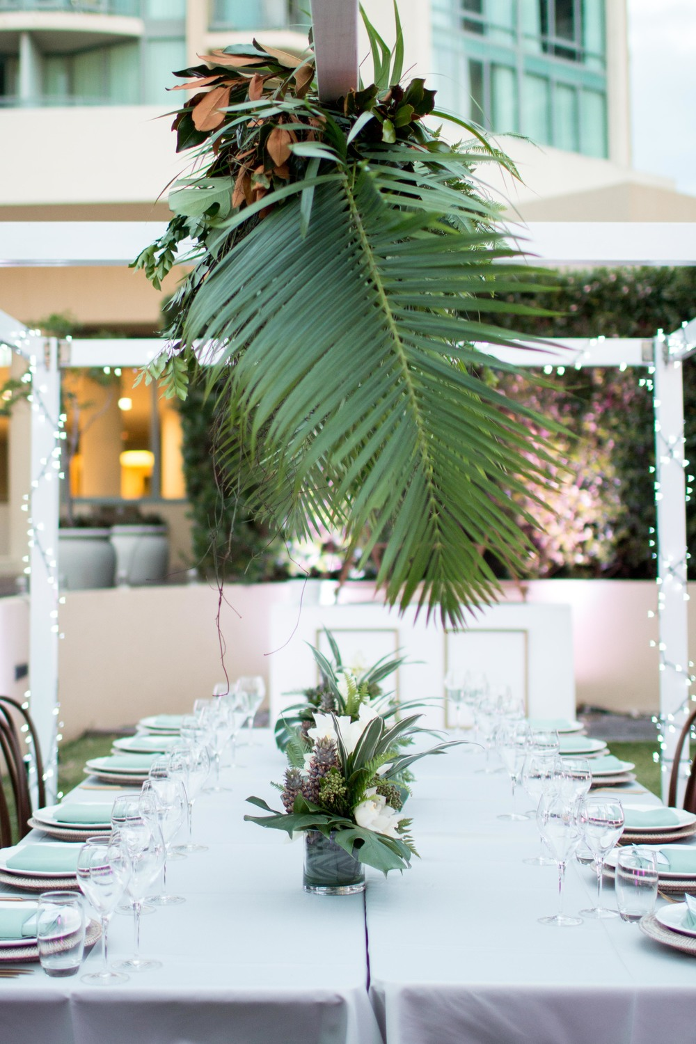 corporate event styling tropical dinner party styled by little gray station on the gold coast