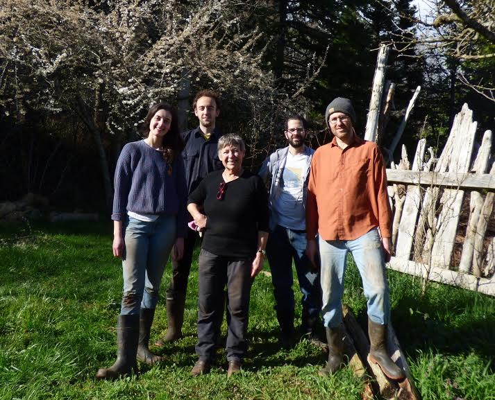 Our farm crew for the 2016 season! Rachel and Reilly are to the left of Mary while Anas and Jordan are on her right.  Photo taken by our talented friend Sheila