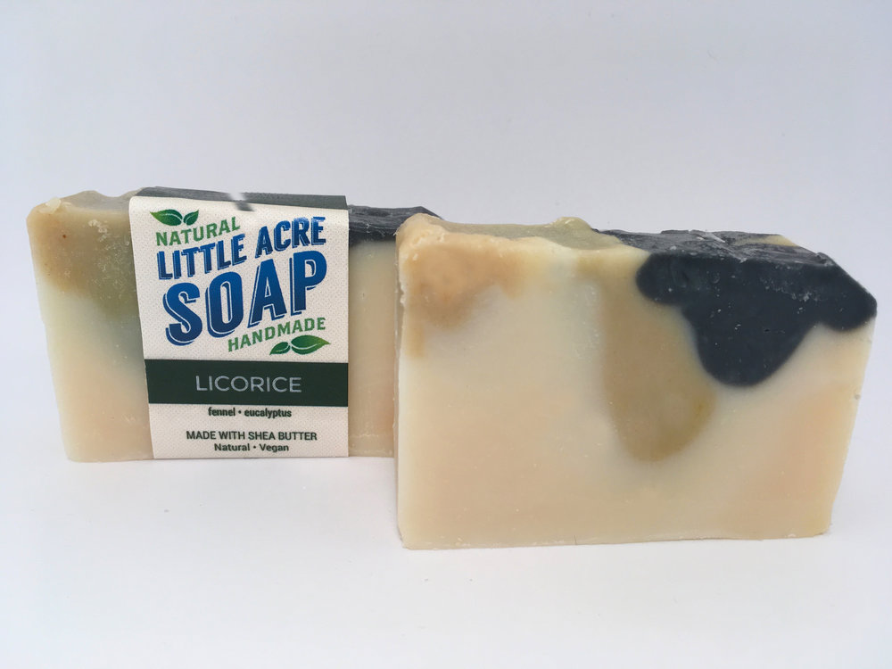 LICORICE  The great aroma of your favourite candy, created with a combination of Fennel and Eucalyptus essential oils. A top seller at Little Acre Soap.