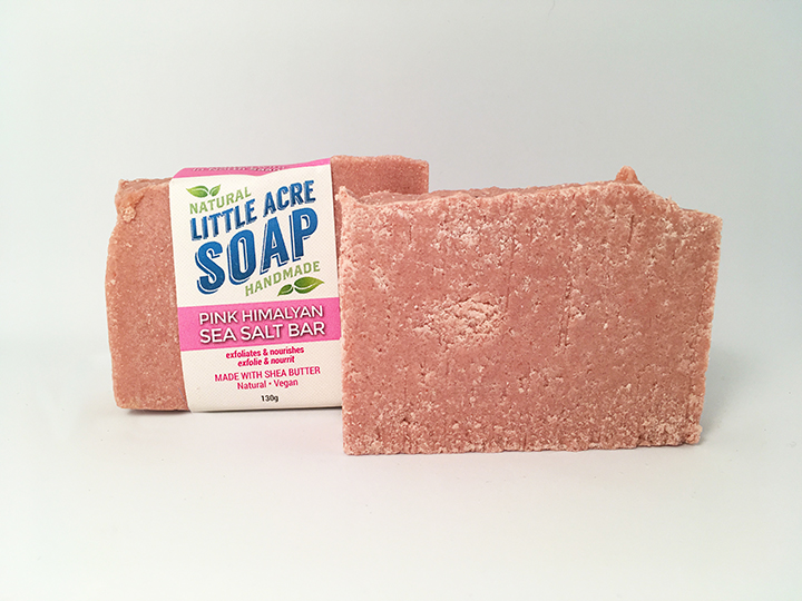 PINK HIMALAYAN SEA SALT BAR     A truly special soap, 50% of this bar's ingredients is Pink Himalayan Sea Salt. Sourced from an ancient sea bed that now lies deep beneath the Himalayas, this salt is rich in minerals and holds great benefits for you skin. Soothing and exfoliating, it will help to balance your skin's pH and helps hold in moisture. The more you work this bar the thicker and richer the lather becomes, giving a rich a luxurious bathing experience.