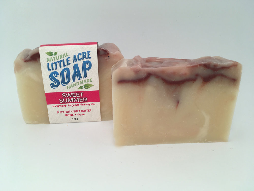 SWEET SUMMER  Filled with the intoxicating scent of tropical flowers, Ylang Ylang is a great oil to use with combination skin. Bergamot helps to balance your skin, and Lemongrass is a natural astringent. A beautiful soap!