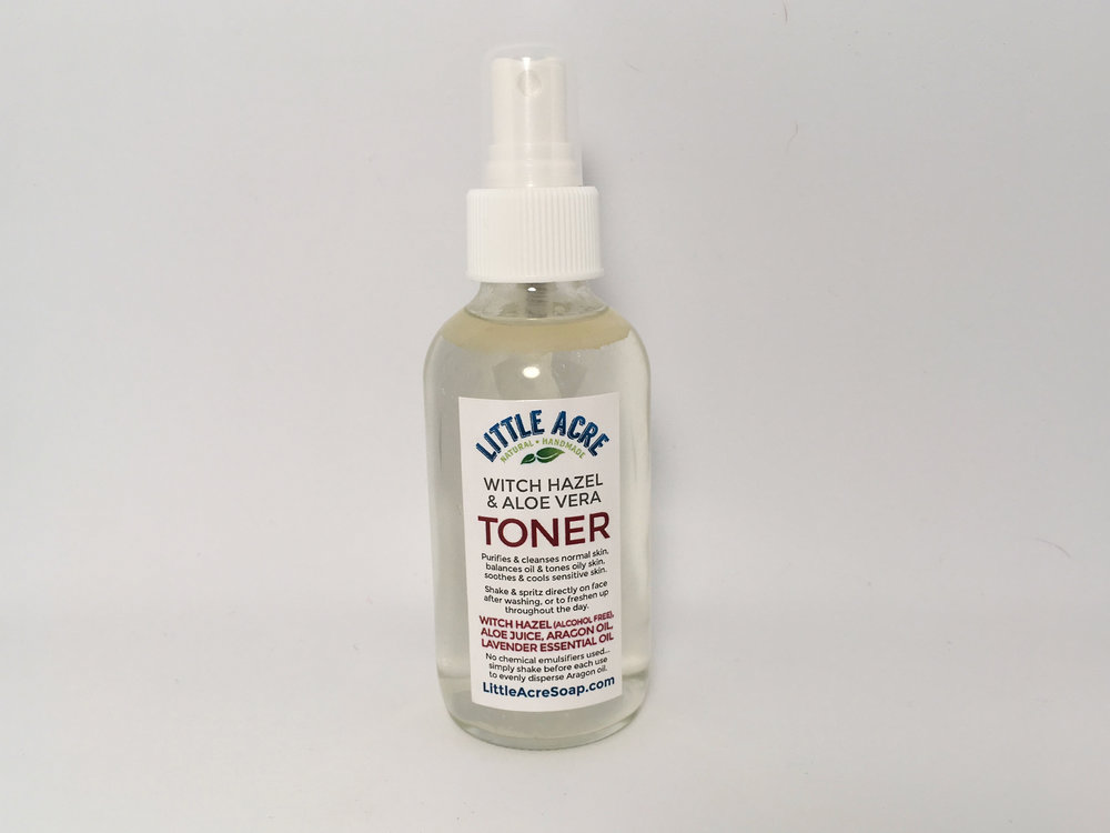 TONER    A simple and effective toner made from alcohol-free Witch Hazel, Aloe Vera, Argan oil, and Lavender essential oil. Spritz directly on face after washing, or onto a cotton pad before gently patting on face. Can also be used to throughout the day to freshen up. Wonderful to use following a deeper cleansing session, such as Little Acre's Floral Steam and Rose Clay Face Mask.     $10