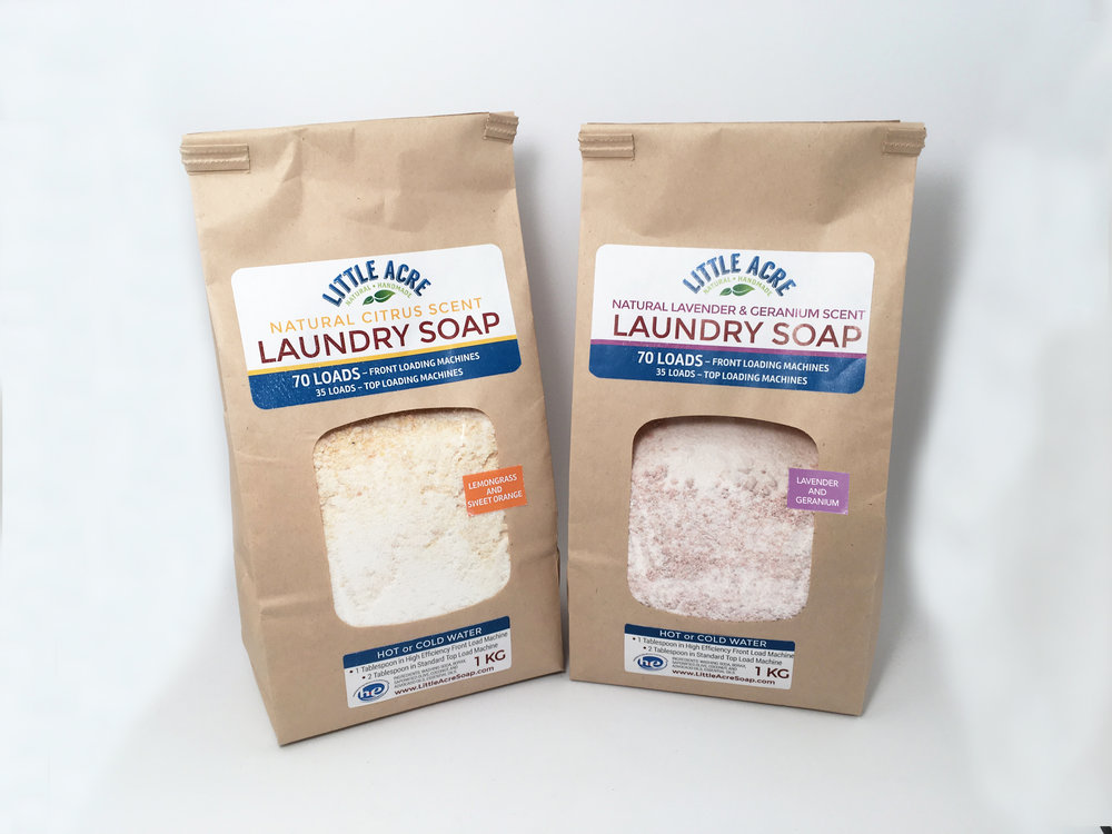 LAUNDRY SOAP  The all-natural laundry soap you've been looking for! Available in two scent blends, Little Acre's Laundry Soap is powerful on dirt and stains while being gentle on the earth and your fabrics. We make a special soap bar for this, then grate it up very fine and combine it with Borax (a naturally occurring mineral that whitens and disinfects) and Washing Soda (a naturally occurring mineral that whitens, brightens and cleans deeply). A little goes a long way, with front-load machines needing just 1 Tablespoon per load (top loaders will need 2 Tablespoons), working out to just over 13¢ per load! Lemongrass/Sweet Orange, or Lavender/Geranium.  $10
