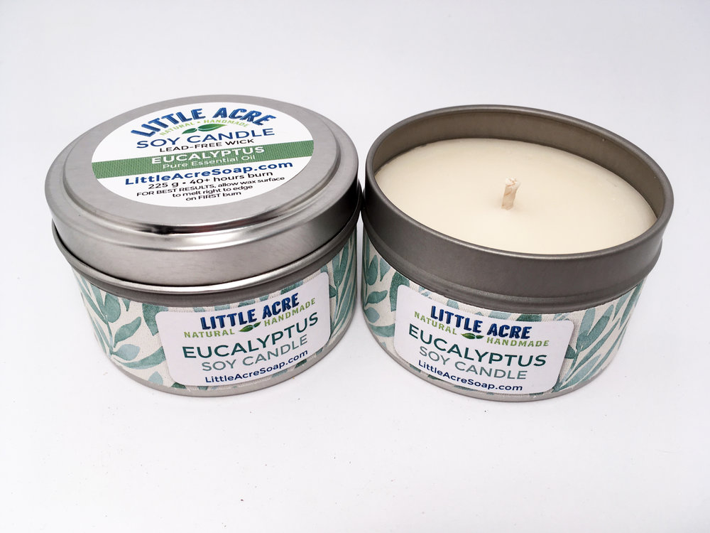EUCALYPTUS SOY CANDLE  —   Eucalyptus Essential Oil       $10/each  or  3 for $25