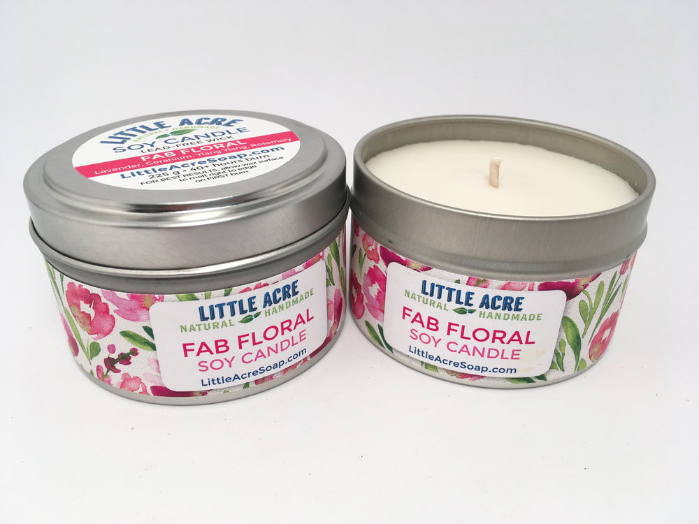 FAB FLORAL  — Lavender, Geranium, Rosemary  $10/each or 3 for $25