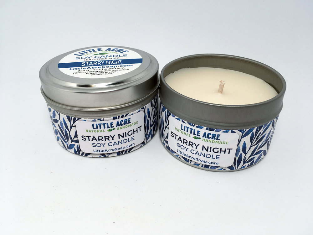 STARRY NIGHT SOY CANDLE  — Lavender, Rosemary, Vanilla       $10/each  or  3 for $25