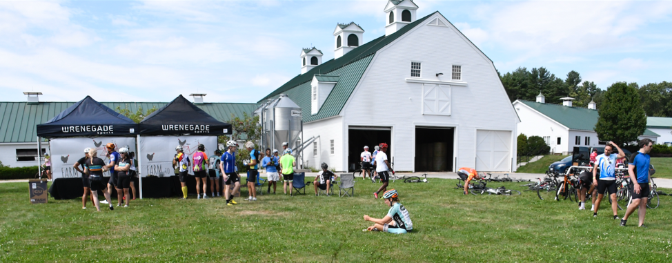 Gourmet gran fondo bicycle event Farm to Fork Fondo hosts aid stations on local farms