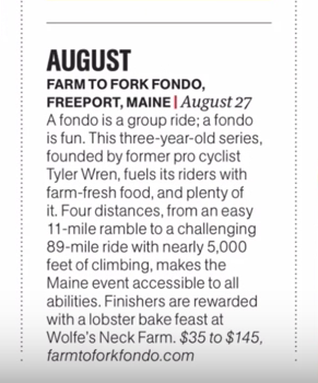 Mens Health featured Farm to Fork Fondo as an essential 2017 adventure in its Jan/Feb 2017 print issue