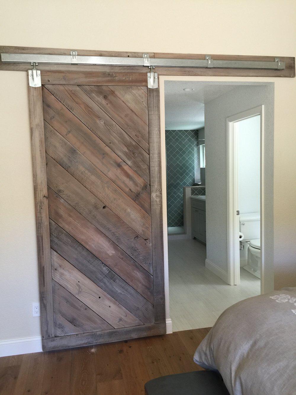 Sliding door in mid-century style home.
