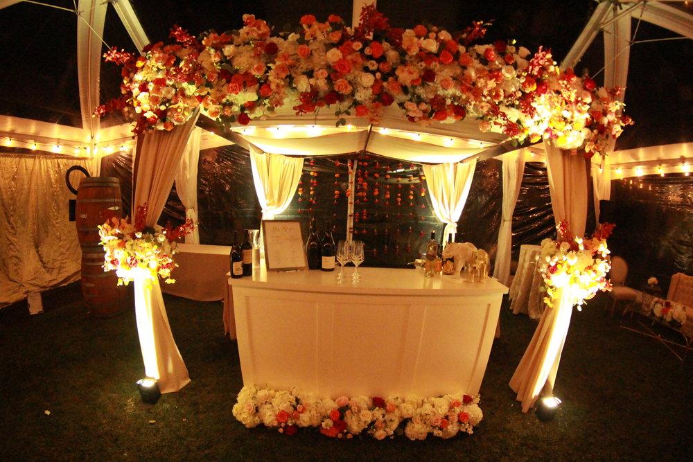 Uplighting at a wedding at the Barn at Tyge Williams Cellars