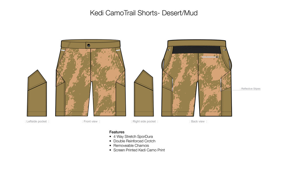 Kedi Camo Trail Shorts