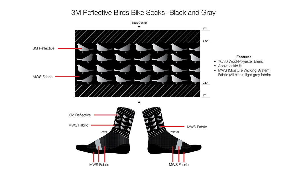 3M Reflective Bike Bird Socks