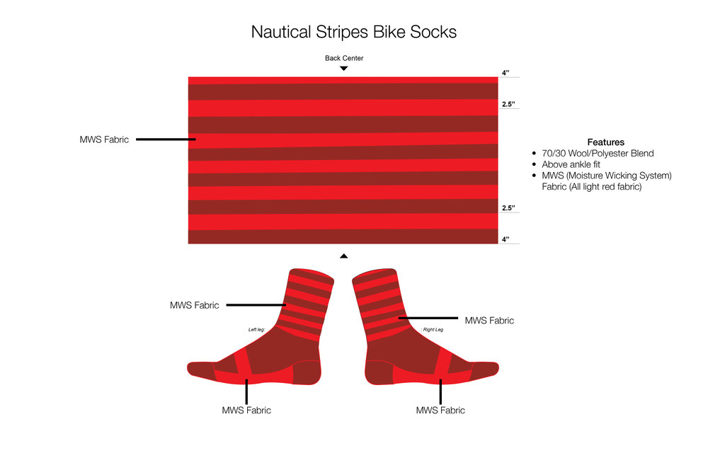Nautical Stripes Bike Socks