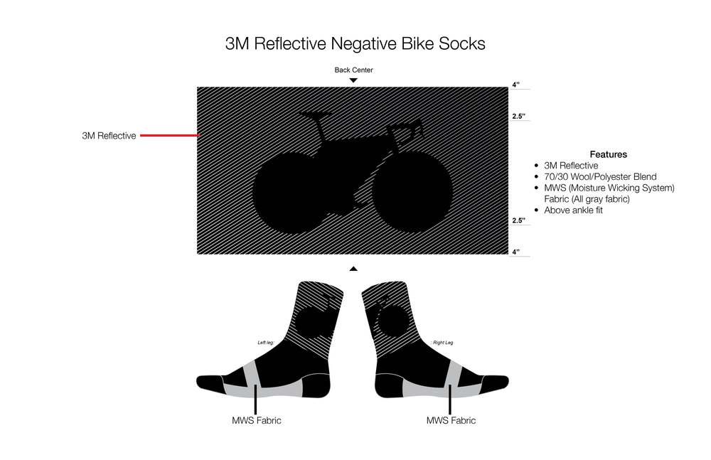 3M Reflective Negative Bike Socks
