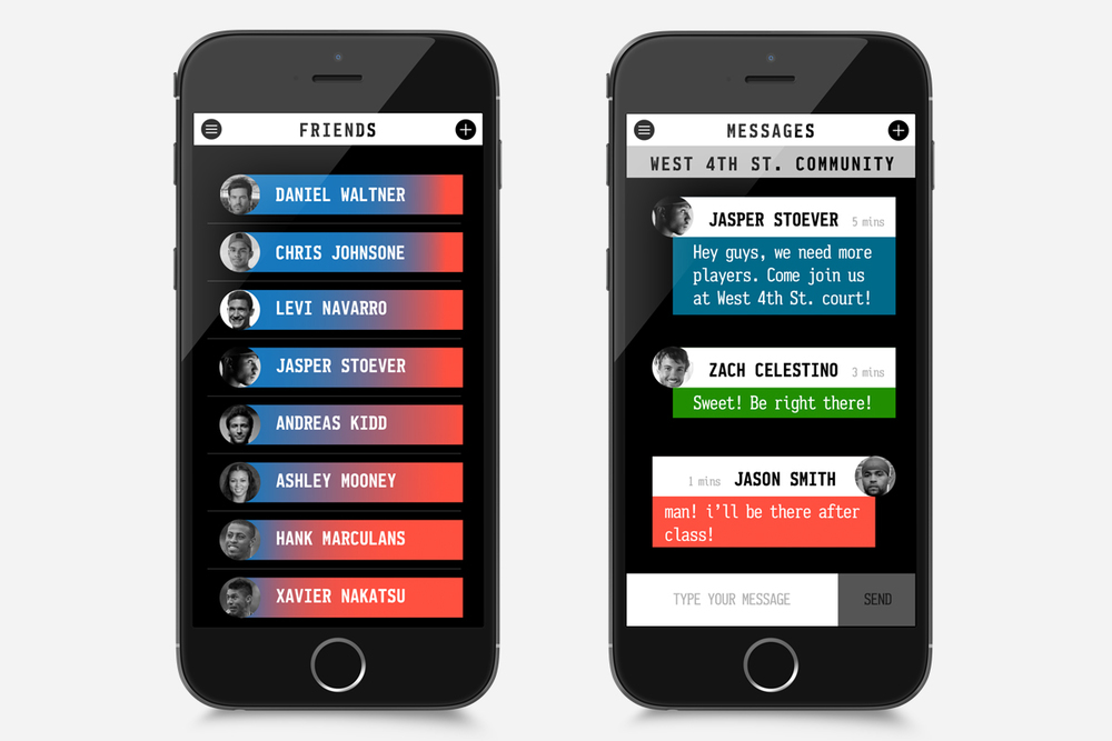 Each User is able to search for their friends nearby. The colors indicate how close the friend is. More blue means closer to you.Then the user can send out a message to invite their friends for a game.