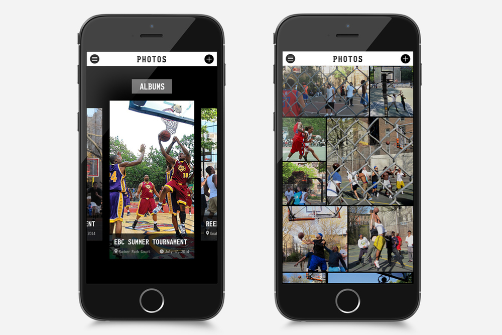 Photos are organized into different albums. Users can swipe through each album to search.