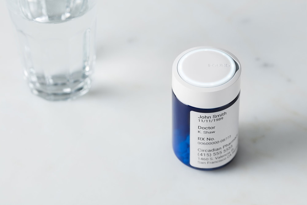 Round Refill smart medicine bottle keeps your medication schedule, reminds you when you've forgotten, and automatically orders refills when you need them.