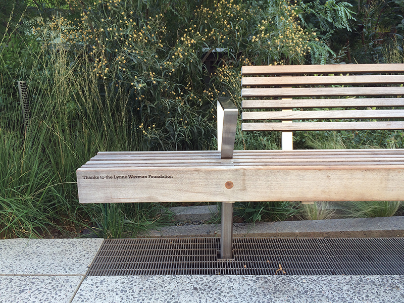 High Line Bench with sandblasted carved text