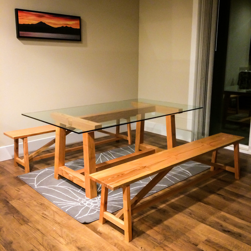 "local douglas fir dining set with ½"" glass top"